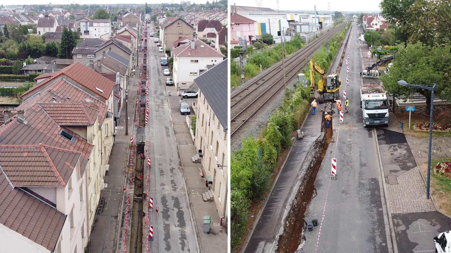 Travaux d'enfouissement de la ligne Haute-Tension à Amnéville